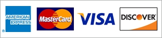 Image of American Express, MasterCard, Visa, and Discover credit card companies which are accepted for payment processing